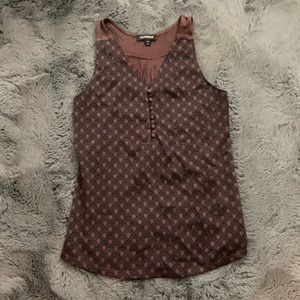 Express Dusty Red Patterned Sleeveless Blouse